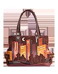 Кожаная сумка №5 коричневая, Ночной город