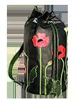 Кожаный женский рюкзак чёрный №6, Маки