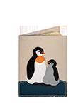Кожаная обложка  на паспорт №1, Пингвины