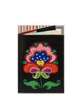 Кожаная обложка  на паспорт №1 черная, Петриковский цветок