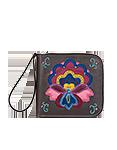 Кожаное портмоне серое, Петриковский цветок