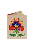 Кожаная обложка  на паспорт №1 кремовая, Петриковский цветок