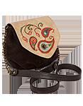 Кожаная женская  сумка №31 кремово-коричневая