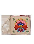 КОЖАНОЕ ПОРТМОНЕ кремовое, Петриковский цветок