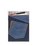 Кожаная обложка  на паспорт №1 синяя, Джинсовый карман