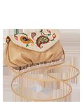 Кожаная женская сумка №34 бежевая, Пейсли