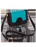 Кожаная сумка №28 бирюзово-черная