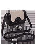 Кожаная сумка №28 бежево-черная
