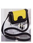 кожаная сумка м28 лимонно-черная