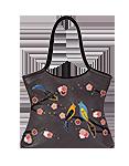 Кожаная женская сумка серая №2, Японские птички