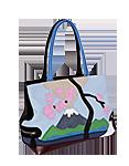 Кожаная женская сумка чёрная №5, Фудзияма