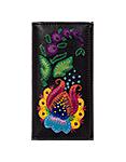 Кожаный кошелек №1 черный, Петриковский цветок