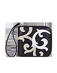 Кожаное женское портмоне чёрное, Барокко