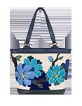 Кожаная женская сумка синяя №46, Императорская сакура