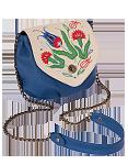 Кожаная женская сумка № 31 кремово-синяя