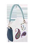 Кожаная женская сумка №29 бело-голубая