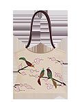 Сумка женская кожаная бежевая №2, Японские птички