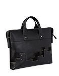 Кожаный портфель черный М.№50, Ночной город