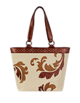 Кожаная женская сумка №46 бежево-коричневая, Барокко