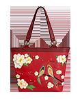 Кожаная женская сумка красная №46, ЯПОНСКИЕ ПТИЧКИ