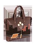 Кожаный женский портфель коричневый №50, НОЧНОЙ ГОРОД