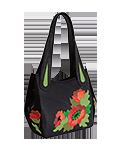 Кожаная женская сумка чёрная №33, Маки