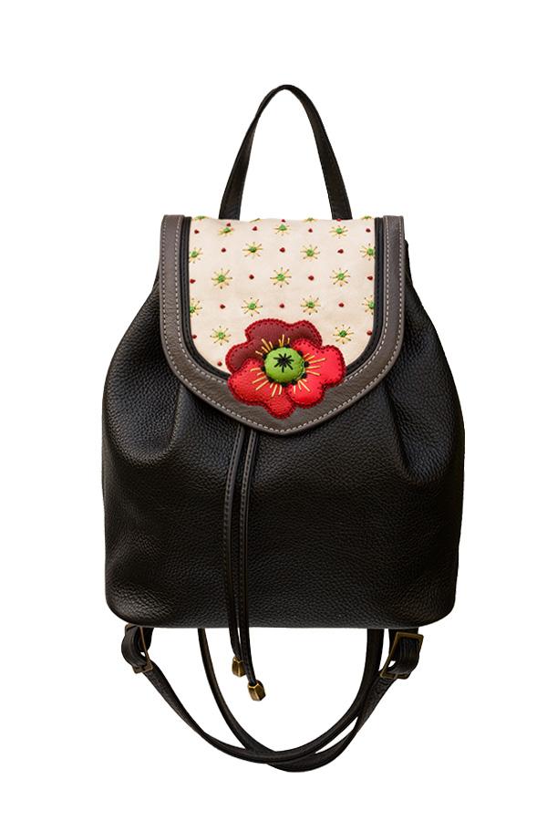 2d6a64c66e7b женский кожаный чёрный рюкзак с контрастным цветочным дизайном МАК ...