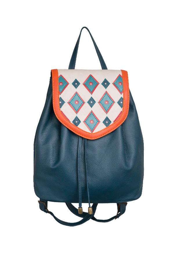 bb84cdf24061 Фото 1 Кожаный женский рюкзак №47, Румба синий в интернет-магазине Unique U