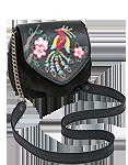 Кожаная сумка женская чёрная №31, Японская птичка