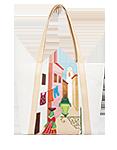 Кожаная женская сумка кремовая №42, Солнечный Лиссабон