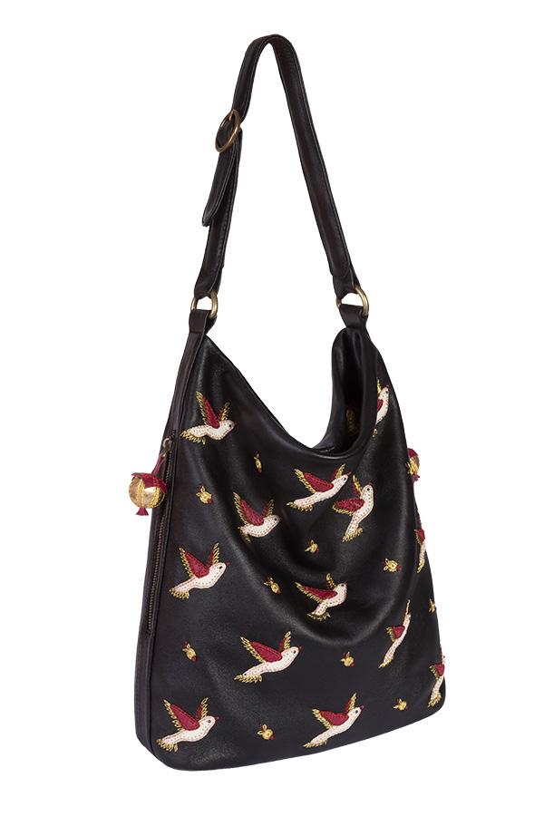 Женская кожаная сумка м.53 Птички черная   Кожаные модные женские ... 59574f82dd1