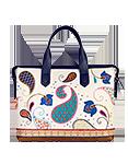 Кожаный женский портфель кремово-синий №50