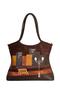 Кожаная сумка №2 коричневая, Ночной город