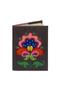 Кожаная обложка  на паспорт №1 серая, Петриковский цветок