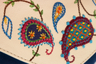Кожаная женская сумка №34 Пейсли синяя-бежевая  в интернет-магазине Unique U дизайнера Елены Юдкевич Фото 3