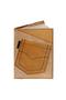 Кожаная обложка  на паспорт №1 бежевая, Джинсовый карман