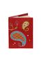 Кожаная обложка  на паспорт №1 красная, Пейсли