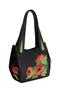 Фото 1 Кожаная женская сумка №33, Маки чёрная в интернет-магазине Unique U