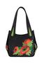 Фото 2 Кожаная женская сумка №33, Маки чёрная в интернет-магазине Unique U