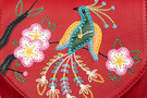 Фото 3 Кожаная женская сумка №31, Японская птичка, красная в интернет-магазине Unique U
