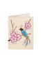 Кожаная обложка  на паспорт №1 кремовая, Японская птичка