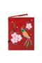 Кожаная обложка  на паспорт №1 красная, Японская птичка