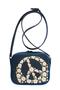 кожаная женская сумка темно-синяя м.№36, flower dream