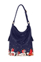 кожаная женская сумка темно-синяя м.53