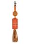 Кожаный этно-брелок №1 оранжевый