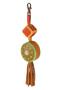 Кожаный этно-брелок №2 оливковый
