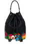 Кожаный рюкзак-сумка черный м.49