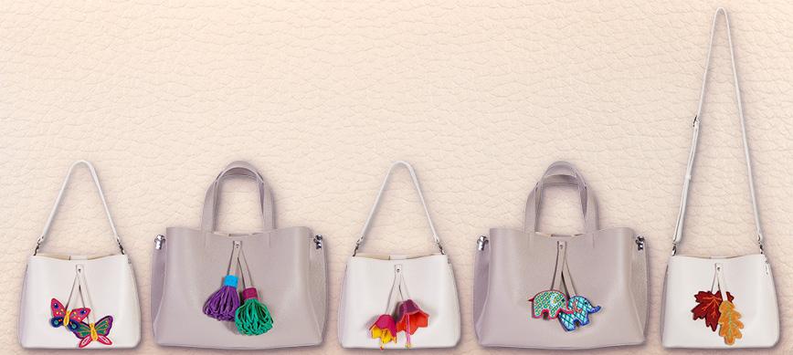 летние сумки со сменными подвесками
